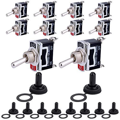 Interruptor de Palanca SPST AC 250V 15A ON/Off 2 Posiciones 2 Pin con Tapa Impermeable para Coche Auto Camión Barco 10 piezas