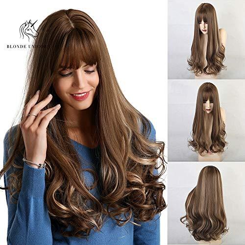 Comfort_home Lange lockige synthetische Perücken for Frauen Damen, Brown Ombre-Wellen-Haar-Perücke for Daily Dress Halloween Cosplay
