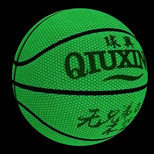 Buy Bargain QIUXING Glow-in-The-Dark Reflective Basketball Official Size Green Glow