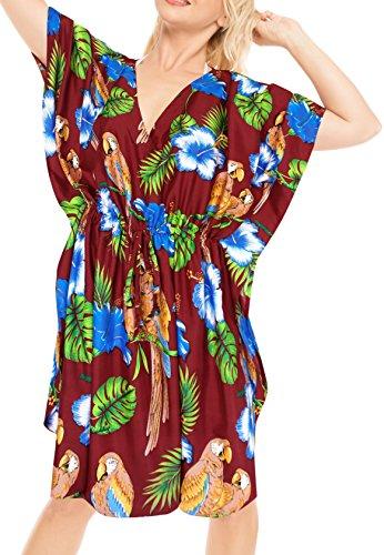 LA LEELA Damska tunika z nadrukiem, kimono, luźny rozmiar, krótka sukienka midi, na imprezę, urlop, bielizna nocna, na plażę, na co dzień