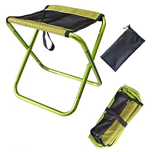 CHENDZ Chaise de pêche extérieure pliante portable petit cheval tabouret pliant en alliage d'aluminium léger tabouret mini tabouret 30x25.5x31.5cm (Color : Green)