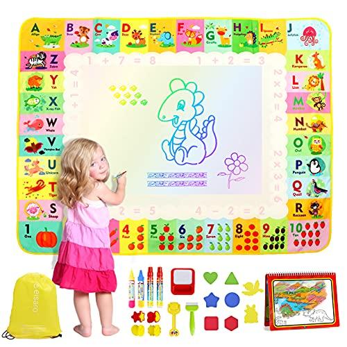 eisaro Agua Dibujo Pintura 120 * 90 cm, Alfombra al Agua No Toxica, Libro de Dibujo de Agua, 4 Bolígrafos Mágicos y 1 Mochila Juegos Juguetes Educativo para niño niño