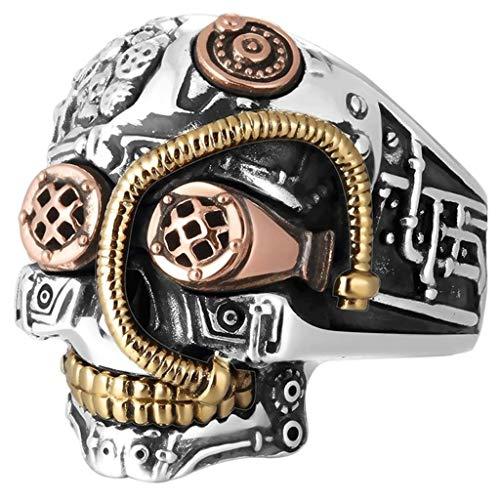 Diadia Anillos de calavera Steampunk para hombres y mujeres, joyería de motociclista, diseño gótico de calavera de azúcar dorada (8)