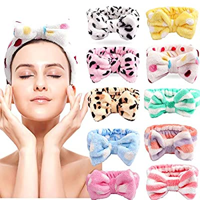 Bow Hair Band Bow Headbands,Cubaco 10 Pack Soft Carol Fleece Hairlace Headband Bowknot Bow Makeup Shower Headbands Head Wraps for Washing Face Shower Spa Mask