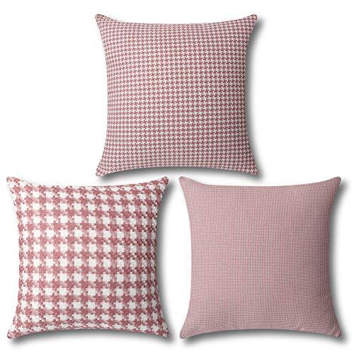 Artscope Juego de 3 fundas de almohada vintage de 45,7 x 45,7 cm, diseño tradicional de pata de gallo, color rosa y blanco, fundas de cojín suaves para sofá, decoración del hogar
