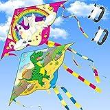 Yetech Cerf-Volant monofil,2 cerf Volant Enfants,110*55cm,Ensemble Licorne et Dinosaure Kit cerf-Volant,avec Queues Colorées y Ligne de Kite,pour Enfants et la Famille Jeux et Activités de Plein Air