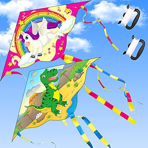Yetech Drachen Flugdrachen Einleiner,2 Packs Kinder Drachen, 110*55cm, Bunte Einhörner und Dinosaurier Einleiner Drachen Basteln Kite Kit,inklusiv Drachenschnur und Streifenschwänze