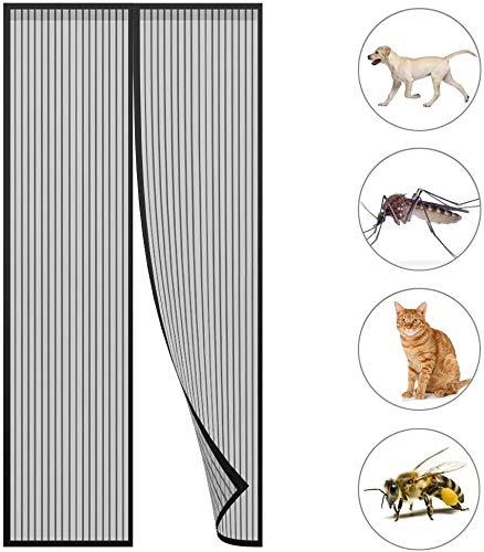 GOUDU Magnet Fliegengitter TüR Insektenschutzrollo Insektenschutz Moskitonetz Magnetverschluss für Balkontür Wohnzimmer Terrassentür - Black A 70x220cm(28x87inch)