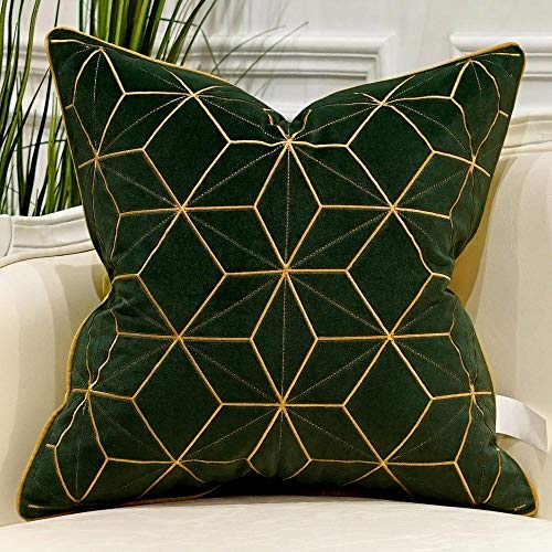 Avigers 18 x 18 Inches Green Gold Plaid Cushion Case Luxury European Throw Pillow Cover Decorative Pillow for Couch Living Room Bedroom Car