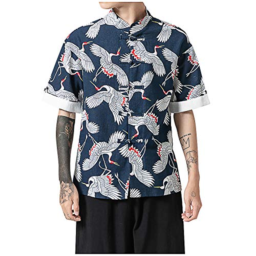 Chiccc Heren Gym Beest Spier ShirtMens Print Korte Mouw MultiColor Stand Neck Losse Casual T Shirt Blouse Topjes XL marineblauw