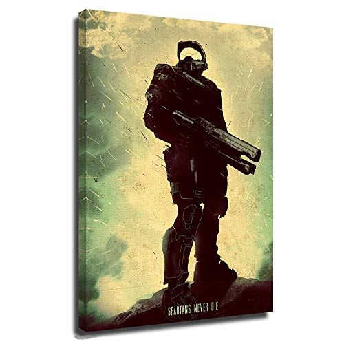 Halo Posters Personalized Canvas Picture Modern Family Bedroom Halo Spartans Never Die Master Spartan Gaming Characters Halo Infinite Game Character 24x36 Inch