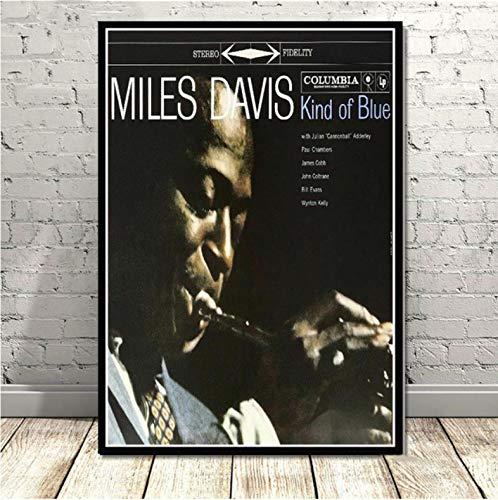 mohanshop Miles Davis Poster Art Von Blue Jazz Musikalbum Poster Wandkunst Bild Poster Und Drucke Leinwand Malerei Für Raum Home Decor 40X50Cm Ohne Rahmen