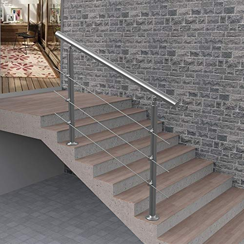 3-Step or 4-Step Handrail for Indoor and Outdoor Steps, Stainless Steel Adjustable Stair Railing, with Installation Kit, Safety Stair Handrail