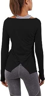 Womens Workout Yoga Gym Shirt Long Sleeve Back Split Thumb Hole Sweatshirt Top