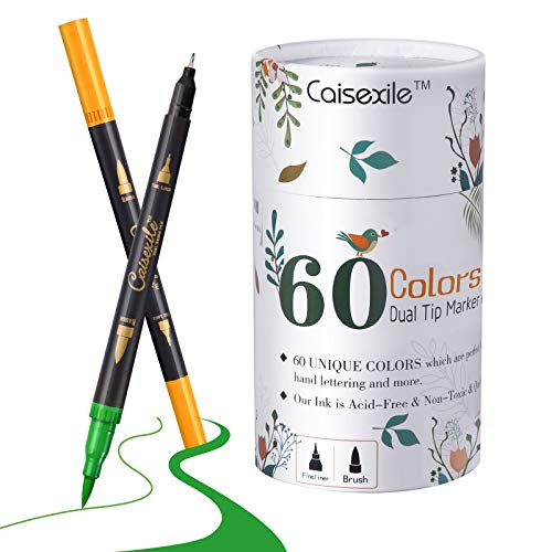 Dual Tip Brush Pens Fineliners Art Markers, 60 Colors Watercolor Marker and Highlighters For Adult Kids Coloring Books Drawing Sketching Bullet Journal Calligraphy Art Projects