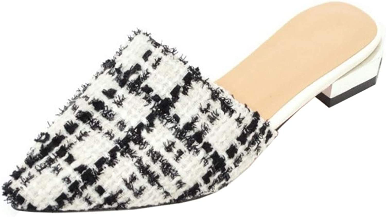 FANIMILA Women Fashion Flat Summer shoes Plaid Sandals