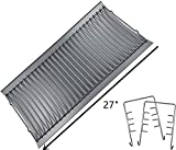 Replace parts Aluminized Steel Ash Pan with 2 pc Fire Grate Hanger, Replacement for Chargriller Charcoal 1224, 1324, 2121, 2222, 2727, 2828, 2929, Charbroil 17302056 Grill(27' X 13 1/4')