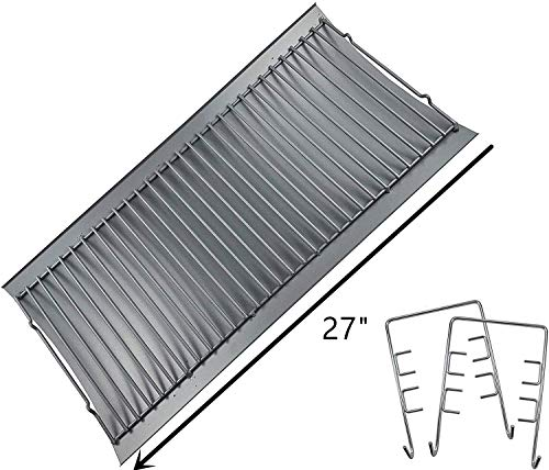 "Replace parts Aluminized Steel Ash Pan with 2 pc Fire Grate Hanger, Replacement for Chargriller Charcoal 1224, 1324, 2121, 2222, 2727, 2828, 2929, Charbroil 17302056 Grill(27"" X 13 1/4"")"