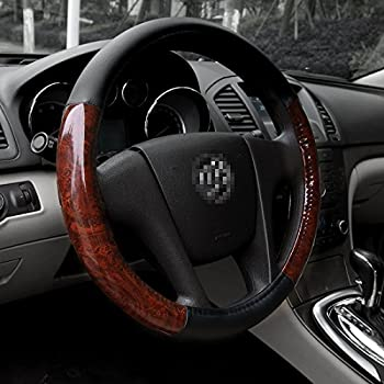Black Universal Steering Wheel Cover Deluxe fits 15  Middle Size - Light Wood Grain
