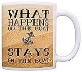N\A Regalo de navegación Qué Sucede en el Barco Divertido Paseo en Bote Regalo de mordaza de navegación Taza de café Taza de té Arena
