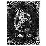 Personalized Custom Name Viking Raven Art Sherpa Fleece Throw Blanket Celtic Scandinavian Norse Runes Christmas Birthday Presents for Men Women Mom Dad Lovers