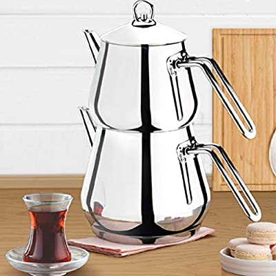 Turkish Tea Pots Set for Stove Top, Stainless Steel Double Teapot Set with Stainless Steel Handle, Samovar Style Self-Strained Tea Kettle, Total Capacity of 3.54 qts