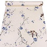Taogift Papel pintado autoadhesivo para decoración de cajón, diseño de pájaros y flores, color azul, 17.7 x 117 pulgadas
