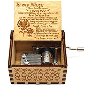 1)Material: This Delicate Laser Engraved Music Box is made of Superior Quality Natural Wood, No harmful substance, Nice Smell, It will come with a elegant package and it will be the perfect gift for Birthday, Graduation, Anniversary, Holiday, Valenti...