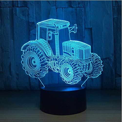 Cadeau Saint Valentin Tracteur Agricole 3D Led Lampe Deco Light Automobile Forme Usb Charge Touch Switch Lampe 7 Coloré Enfants Night Light Pour Nouvel An Cadeau