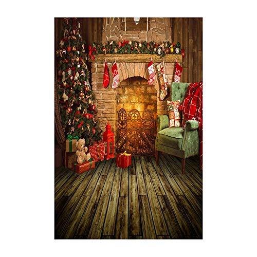 Preisvergleich Produktbild kingko 90x150cm 3D-Studio-Hintergrundtuch aus Vinyl,  Foto-Hintergrund, Weihnachten Backdrops Schnee Vinyl Fotografie Studio (F)