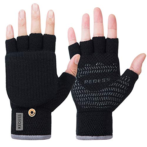 REDESS Womens Men's Winter Gloves Warm Knitted Convertible Fingerless Mittens,Fleece Lined Student Writing Fingerless Gloves/Black