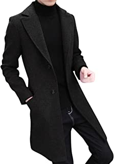 Men Long Trench Coat Winter Warm Single Breasted Business Slim Fit Jacket by Lowprofile