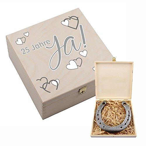 Hufeisen-Box zur Silberhochzeit mit Motiv '25 Jahre Ja! – Silberhochzeitsgeschenk – Geschenk zur Silber Hochzeit – 25 Jahre Hochzeitstag Silberhochzeit Geschenkideen Geschenk Deko Silberhochzeitspaar