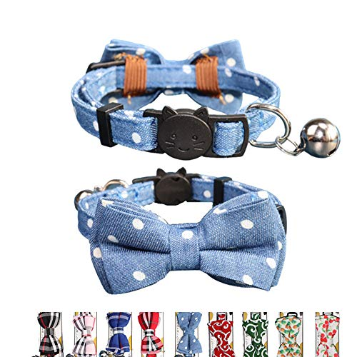 THAIN Cat Collar Breakaway with Bell and Bow Tie Safety Buckle with Name Tag Denim Dots Adjustable 7-11 inches for Kitten Cats(Denim Dots)