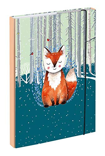 Baagl Heftbox für Schulranzen A4 - Sammelmappe für Kinder mit Gummiband und Innenklappen - Heftmappe, Sammelbox mit Gummizug für Mädchen (Foxie)