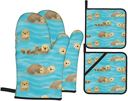 MODORSAN Schwimmende Otter Ofenhandschuhe und Topflappen Küchenset 4 Stück,hitzebeständige rutschfeste Kochhandschuhe Topfpolster zum Grillen zum Grillen