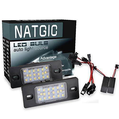 NATGIC 2PCS LED Plaque d'immatriculation Lumière 3528 puces 18SMD Intégré Can-Bus étanche Plaque d'immatriculation Lumière LED Numéro Plaque d'immatriculation Lampe Assemblée 12V 3W - 6500K Blanc