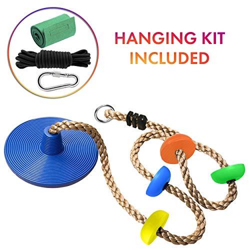 Cateam Disc schommel klimtouw voor kinderen en volwassenen – Boomschijf schommelstoel voor buiten achtertuin speeltuin of ninja lijn met opknoping riem kit