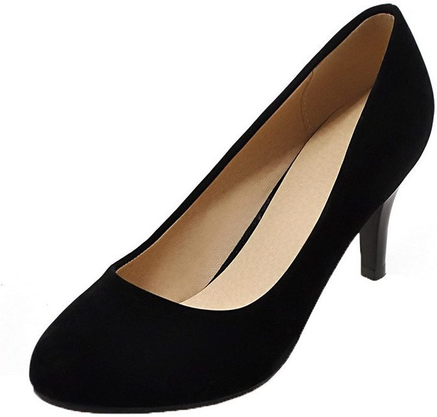 WeiPoot Women's Pull-On High-Heels Frosted Solid Round-Toe Pumps-shoes
