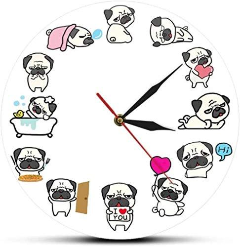 Relojes De Pared Dibujos Animados Pug Acrílico Reloj De Pared Amante Del Cachorro Decoración Del Hogar Reloj De Pared Tienda De Mascotas Pug Impreso Doggie Reloj De Pared Regalo Para Niños 30X30Cm