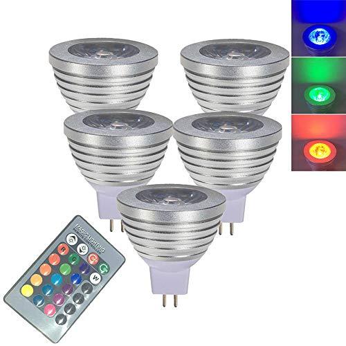 OMTO MR16 RGB-Farbwechsel-Strahler, 3 W, mit IR-Fernbedienung, Stimmung, atmosphärische Beleuchtung, bunte LED-Leuchtmittel, dimmbar, 12 V, 5-Pack, MR16(GU5.3) 3.0watts 12.0volts