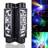 Betopper Mini araña moviéndose cabeza escenario luz LED DJ iluminación RGBW, 8 x 3 W DMX 512 Dual Sweeper Pulse luces estroboscópicas para restaurante, en vivo, club, concierto, etc.