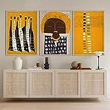 SHKJ Carteles de Arte contemporáneo Decoración de Pared Bohemia Moderna, Mujeres africanas abstractas Arte étnico Hogar 40x60cm / 15.7'x23.6 X3 Sin Marco