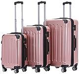 BEIBYE Zwillingsrollen 2048 Hartschale Trolley Koffer Reisekoffer Taschen Gepäck in M-L-XL-Set (Rosa Gold, Set)