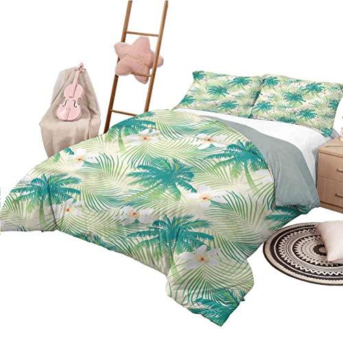 Bettbezug Muster Leaf Leichte Schlafzimmer Tagesdecke für All Season Island mit Palmenlaub