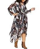 Tommy Hilfiger Womens Black Printed Long Sleeve V Neck Maxi Sheath Dress Plus Size: 3X