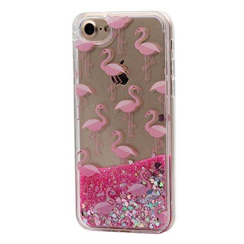 Keyihan Cover per iPhone 6S e iPhone 6 Glitter Liquido Custodia Antiurto Trasparente Disegni Divertenti Brillantini Paillettes Protettiva Case Rigida Morbida Silicone Paraurti 4.7' (Fenicottero 1#)