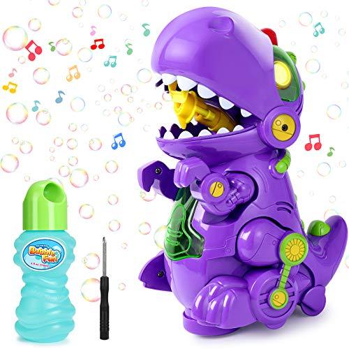 joylink Máquina de Burbujas, Maquina Pompas Jabon con Música y Luz, Automático Máquina Bubble para Niños, Bubble Maker de Dinosaurio Soplador de Pompas de Jabón para Baño Fiestas
