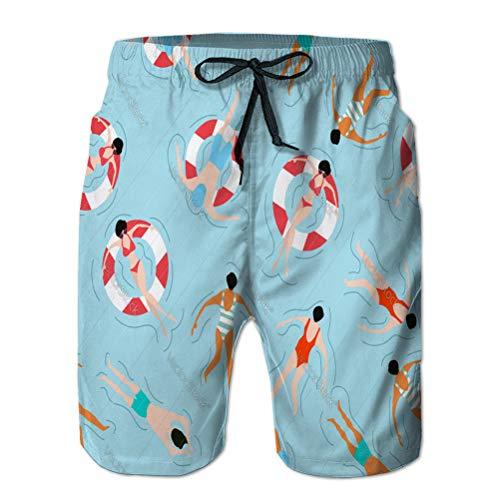 jiilwkie Herren Beach Board Shorts Quick Dry Swim Trunk Völker Schwimmen Sommer Muster XL