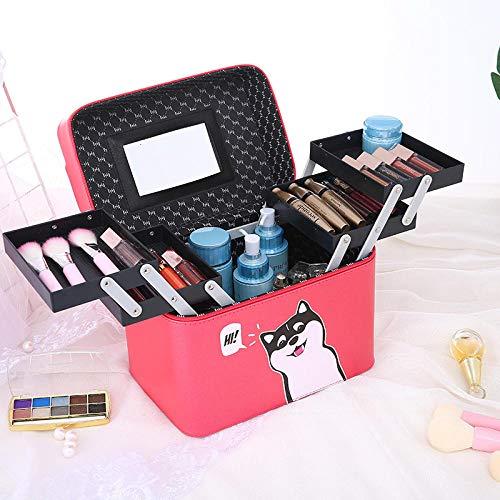 Trousse de Toilette Mignonne Professionnelle Portable Trousse de Toilette Portable Grande capacité Sac cosmétique Voyage cosmétiques Chien Rouge